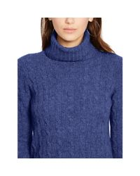 Polo Ralph Lauren - Purple Cabled Merino Wool Turtleneck - Lyst