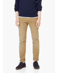 Mango - Brown 5-pocket Cotton Trousers for Men - Lyst