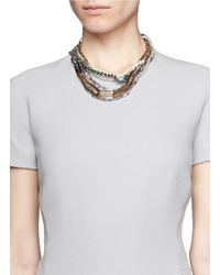 Venna | Metallic Chain Link And Pearls Necklace | Lyst