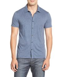 John Varvatos | Blue 'luxe' Slim Fit Knit Sport Shirt for Men | Lyst