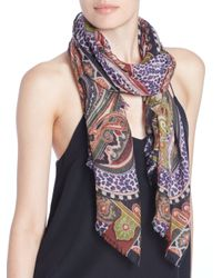 Etro - Red Leopard-Print Paisley Cashmere Scarf - Lyst