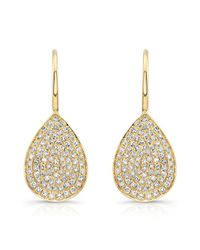 Anne Sisteron | Metallic 14kt Yellow Gold Diamond Small Pear Shaped Earrings | Lyst