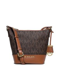 MICHAEL Michael Kors | Brown Bedford Monogram Bucket Tote | Lyst