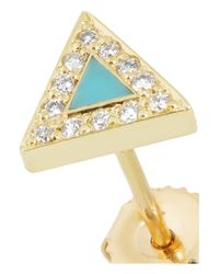 Jennifer Meyer | Blue 18karat Gold Turquoise and Diamond Triangle Earrings | Lyst