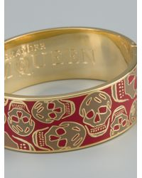 Alexander McQueen | Metallic Enameled Skull Bangle | Lyst
