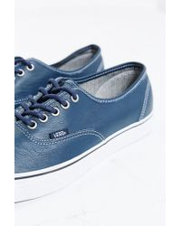 Vans | Blue Authentic Leather Sneaker for Men | Lyst
