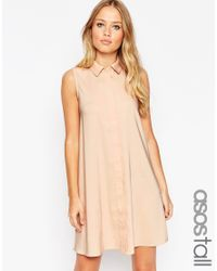 ASOS | Natural Tall Sleeveless Shirt Dress | Lyst