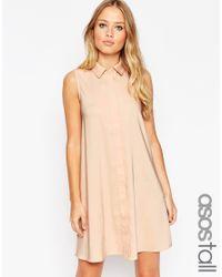 ASOS | Natural Tall Sleeveless Shirt Dress | Lyst