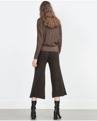 Zara | Brown Cardigan With Bat Sleeves | Lyst