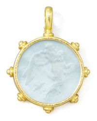 Elizabeth Locke - Metallic Angel Glass Intaglio 19K Gold Pendant - Lyst