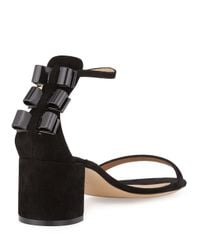 Ferragamo - Black Connie Suede and Patent-Leather Sandals  - Lyst
