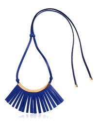 Marni - Blue Fringed Leather Necklace - Lyst