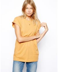 ASOS | Natural Boyfriend T-shirt with Roll Sleeve | Lyst