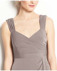 Ann Taylor - Gray Jersey Tucked Strap Dress - Lyst