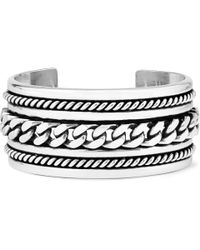 Saint Laurent | Metallic Chain-Embossed Silver Cuff for Men | Lyst