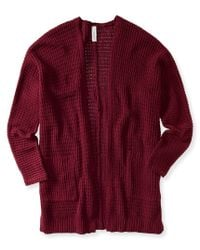 Aéropostale | Red Waffle-knit Open Cardigan | Lyst
