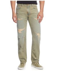 LRG | Brown Big And Tall Distressed Straight-leg Jeans for Men | Lyst