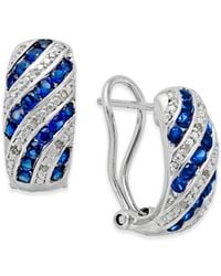 Macy's | Metallic Sapphire (1 Ct. T.w.) And Diamond Accent Omega Earrings In Sterling Silver | Lyst
