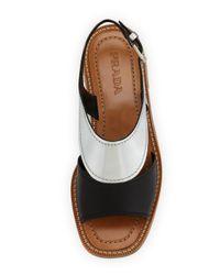 Prada - Bicolor Metallic Flat Sandal - Lyst
