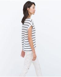 Zara   White Short Sleeve T-shirt   Lyst