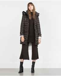 Zara | Brown Long Quilted Coat With Detachable Hood | Lyst
