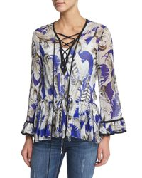 Roberto Cavalli - Blue Lace-front Long-sleeve Silk Georgette Tunic - Lyst