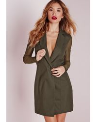 Missguided | Natural Mesh Back Blazer Dress Khaki | Lyst