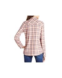 BCBGeneration - Pink Plaid Button Front Shirt - Lyst