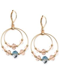 Jones New York | Brown Gold-tone Pink And Blue Bead Double Orbital Earrings | Lyst