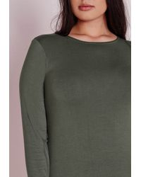 Missguided | Green Plus Size Long Sleeve Jersey Dress Khaki | Lyst