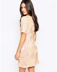 Glamorous | Pink Shift Dress In Heavy Sequins | Lyst