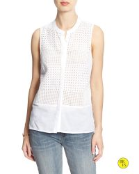 Banana Republic | White Factory Hi-lo Sleeveless Shirt | Lyst