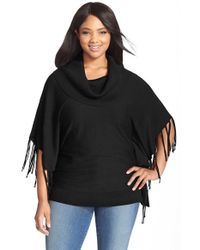 MICHAEL Michael Kors | Black Fringe Cowl Neck Sweater | Lyst