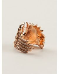 Elise Dray - Metallic Rose Gold And Diamond Pavé Phalanx Wings Ring - Lyst