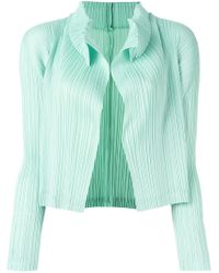 Pleats Please Issey Miyake - Blue Pleated Cropped Jacket - Lyst