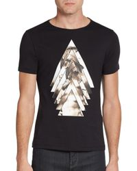 Emporio Armani | Black Cotton Sculpture-graphic Tee for Men | Lyst