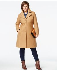 Tommy Hilfiger | Natural Plus Size Wool-blend Walker Coat | Lyst