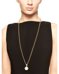 kate spade new york - Metallic Pearly Delight Long Pendant - Lyst