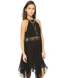 Free People - Black Go Lightly Gauze & Lace Dress - Ivory - Lyst