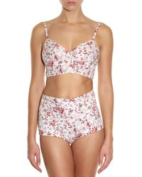 Etro | White Cutout Floral-print Cotton Bra Top | Lyst