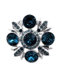 Givenchy - Blue Silvertone Swarovski Montana and Sapphire Crystal Pin - Lyst