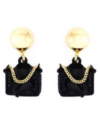 Moschino | Metallic Biker Bag Clip-on Earrings | Lyst