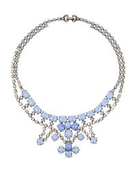 Tom Binns | Blue Neopolitano Rhodiumplated Swarovski Crystal Necklace | Lyst