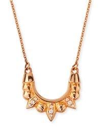 Pamela Love | Pink Mini Spike White Topaz Pendant Necklace | Lyst