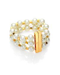 Tory Burch - White Tilde Multistrand Bracelet - Lyst
