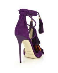 Jimmy Choo - Purple Mindy Suede Lace-up Tassel Sandals - Lyst