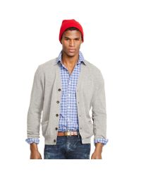 Polo Ralph Lauren | Gray Suede-patch Wool Cardigan for Men | Lyst