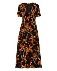 Fendi | Black Bird Of Paradise-print Silk Midi Dress | Lyst