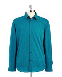 Calvin Klein - Blue Checkered Button-Down Shirt for Men - Lyst