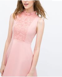 Zara | Pink Combined Dress | Lyst